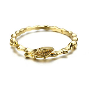 Fashion-Women-039-s-Wedding-Engagement-Party-Ring-Gold-Plated-Leaf-Ring-Size-6-9