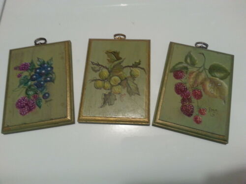"#4. Set of hand painted wooden wall plates. Very nice. One of a Kind! ""LOOK"""