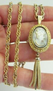 VTG ENZO Gold Tone Mechanical Wind Watch Swiss 17 jewel Pendant Cameo Necklace