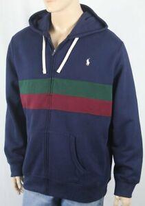 Polo Ralph Lauren Navy Hoodie Full Zip Fleece Sweatshirt White Pony NWT $125