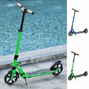 HOMCOM Kinderroller Scooter mit beleuchteten Rädern für 14+ faltbar Blau/Grün