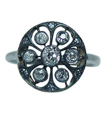 Antique Old Mine Cut Diamond Ring 14K White Gold Estate Jewelry