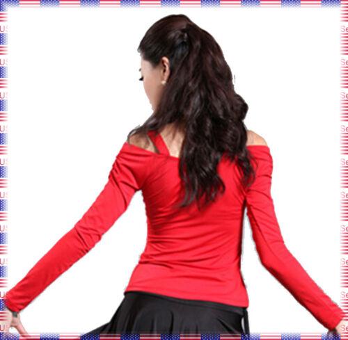 SGT07 Red or Black Women Ballroom Smooth Latin Tango Swing Salsa Dance Top