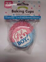 Gender Reveal Baby Shower: Gender Reveal Cupcake Liners; Girl Or Boy?; Team Pink