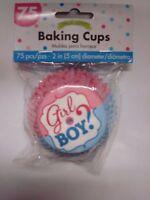 Gender Reveal Baby Shower: Gender Reveal Cupcake Liners; Girl Or Boy?; Team Pink