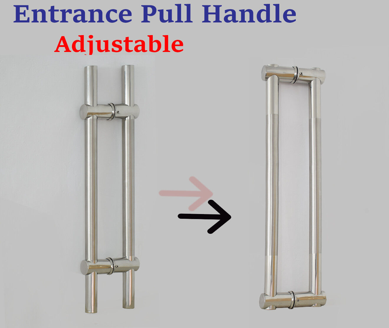 Pair Of Adjustable Modern Stainless Steel Entrance Front Door Pull Handles 24