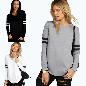 Women-039-s-Striped-Long-Sleeve-Casual-T-Shirt-Tops-Loose-Cotton-Autumn-Tops-Blouse