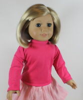 Hot Pink Long Sleeve Turtleneck T-shirt For 18 American Girl Doll Clothes Found on sale
