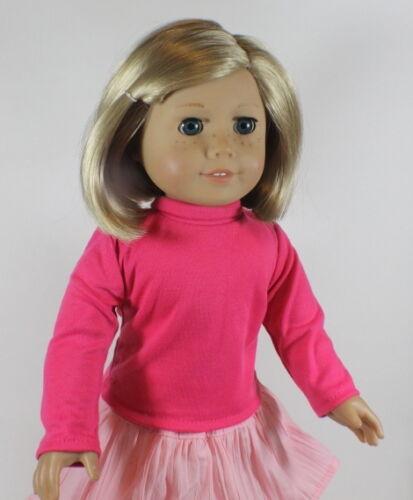 "Lovvbugg Hot Pink Turtleneck Shirt Doll for 18"" American Girl Doll Clothes"