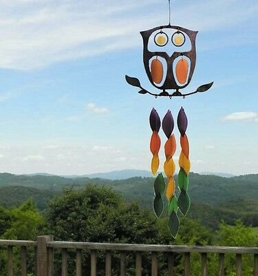 Rustic Garden Owl Wind Chime Handcrafted Colored Glass and Metal Chime