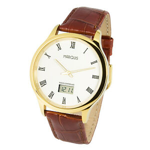Elegante-Herren-Funk-Armbanduhr-deutsches-Funkwerk-Edelstahl-Leder-964-4702-78