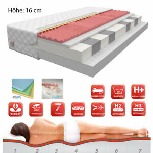 7 zonen schaum matratze visco memory foam 80x200 90x200 120x200 140x200 h he16cm ebay. Black Bedroom Furniture Sets. Home Design Ideas