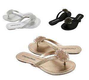 315bf3570fcf Ofelia Women s Cute Summer Flip Flops Glitter Flower Thong Flat ...