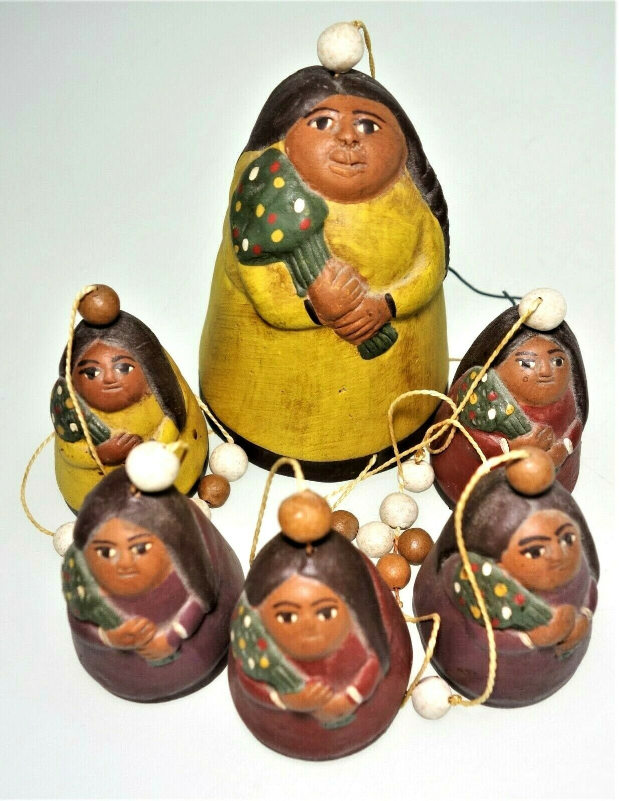 "20""Painted Pottery Clay Peru Windchime Tribal Native Christmas Tree Ethnic Boho"