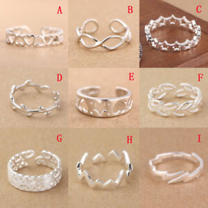 Solid-925-Sterling-Silver-Adjustable-Open-Band-Thumb-Midi-Ring-Finger-Lady-Gift