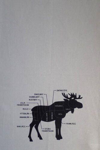 Geschirrtuch ELCH Elche Älg grau Trockentuch Küchentuch Geschirrtücher Schweden