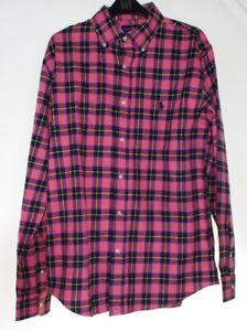 Ralph-Lauren-Custom-Fit-Pink-POLO-CLASSY-Check-Plaid-Tartan-TWILL-COTTON-Shirt-S