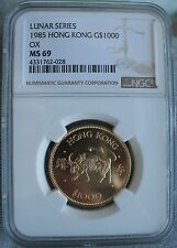 1985 Hong Kong Gold 1000 Dollars NGC MS-69  OX