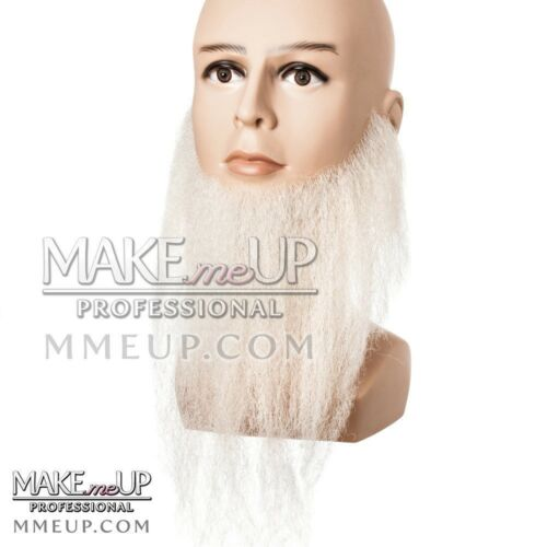 WHITE FULL LONG Beard Mustache Hair Makeup stage Theatrical costume Facial santa