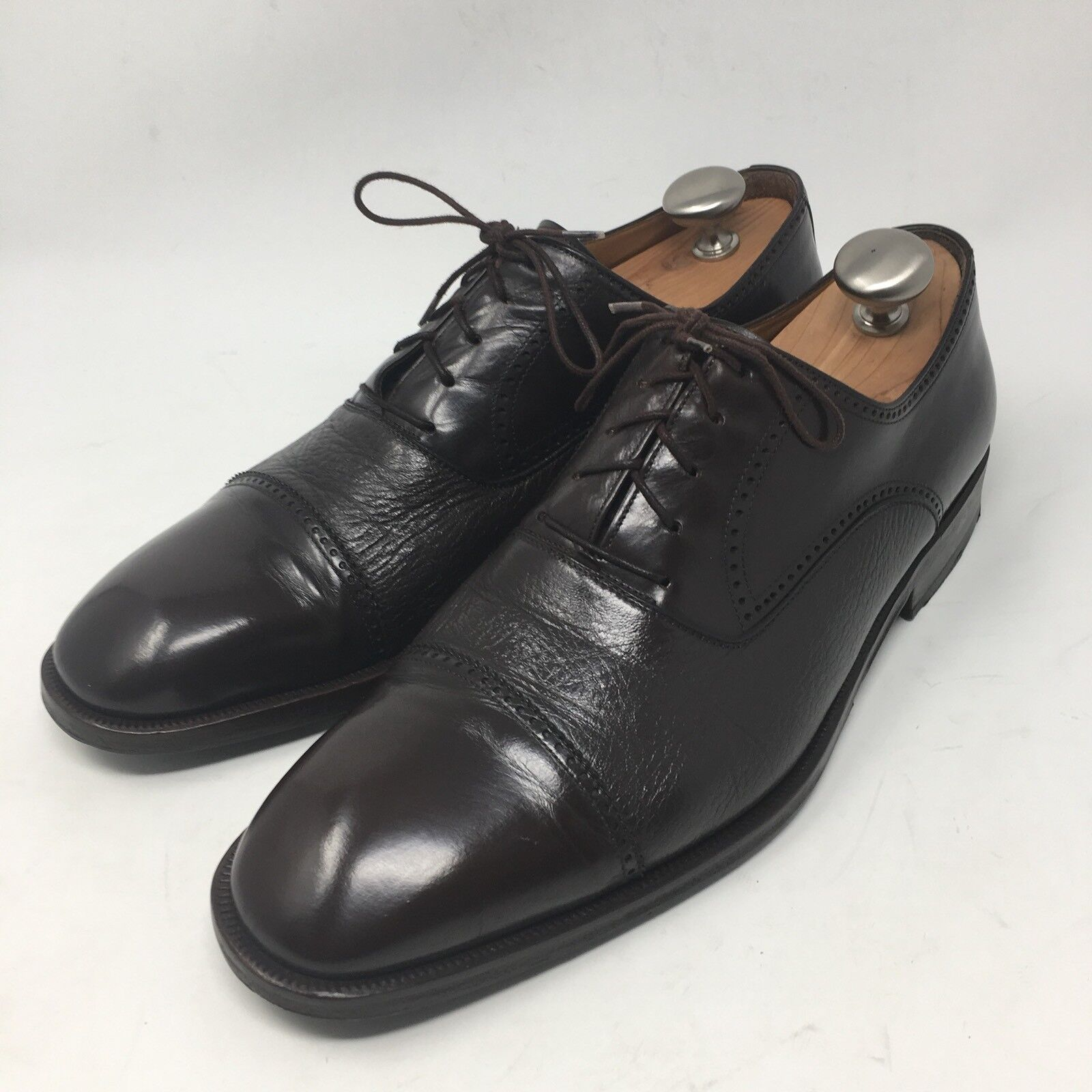 Magnanni  Brown Leather Mens Oxford Cap Toe Dress shoes Size 10.5 M Spain