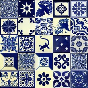 Details About 25 4x4 Mexican Ceramic Tiles Blue White Mixed Designs