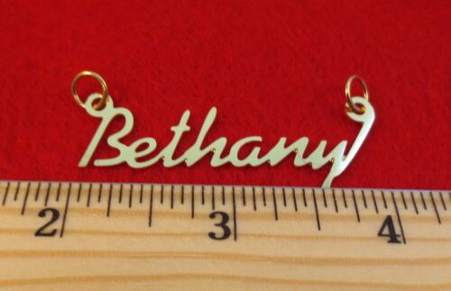 """14KT GOLD EP /""""BETHANY/"""" PERSONALIZED NAMEPLATE WORD CHARM PENDANT 6047"""