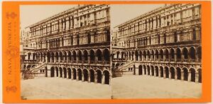 Italia Venezia Palais Dei Doge c1870 Foto Stereo Carlo Naya Vintage Albumina