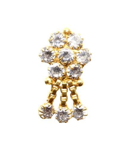 blanc zircone cubique Tire-Bouchon Piercing Nez Anneau 22K Gold Filled Indian nose stud