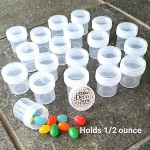 12-one-half-oz-1-1-4-034-tall-Plastic-JARS-Clear-Caps-Travel-Samples-3304-DecoJars