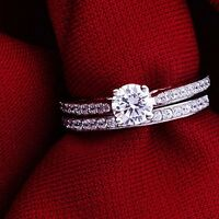 Real 18k White Gold Plated Wedding Band/ring Set Free Shipping