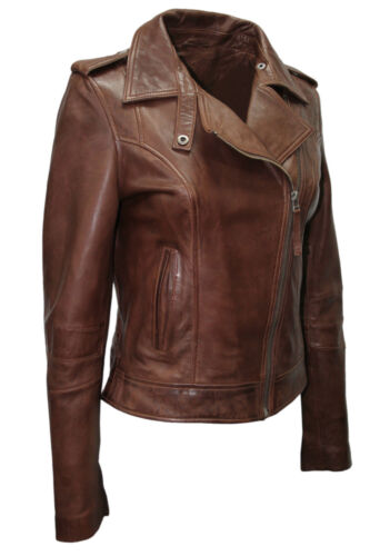 Women's Soft Ladies Brown Rock Style Jacket Leather Brando Fashion Biker ZxxaqFwd