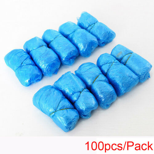 100X Blue Disposable Plastic Anti Slip Shoe Covers Protective Cleaning Overshoes