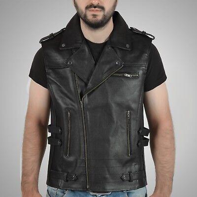 Men's Genuine Leather Vintage Biker Waistcoat Retro Motorcycle Vest Uk Stock Online Rabatt