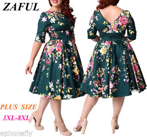 Details about Plus Size Women Rockabilly Vintage Floral Big Swing Prom  Pinup Party 50s Dress