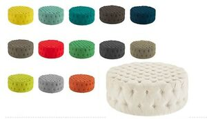 LARGE-ROUND-COFFEE-TABLE-COCKTAIL-OTTOMAN-BUTTON-TUFTED-14-FABRIC-COLORS-40-034-DIA