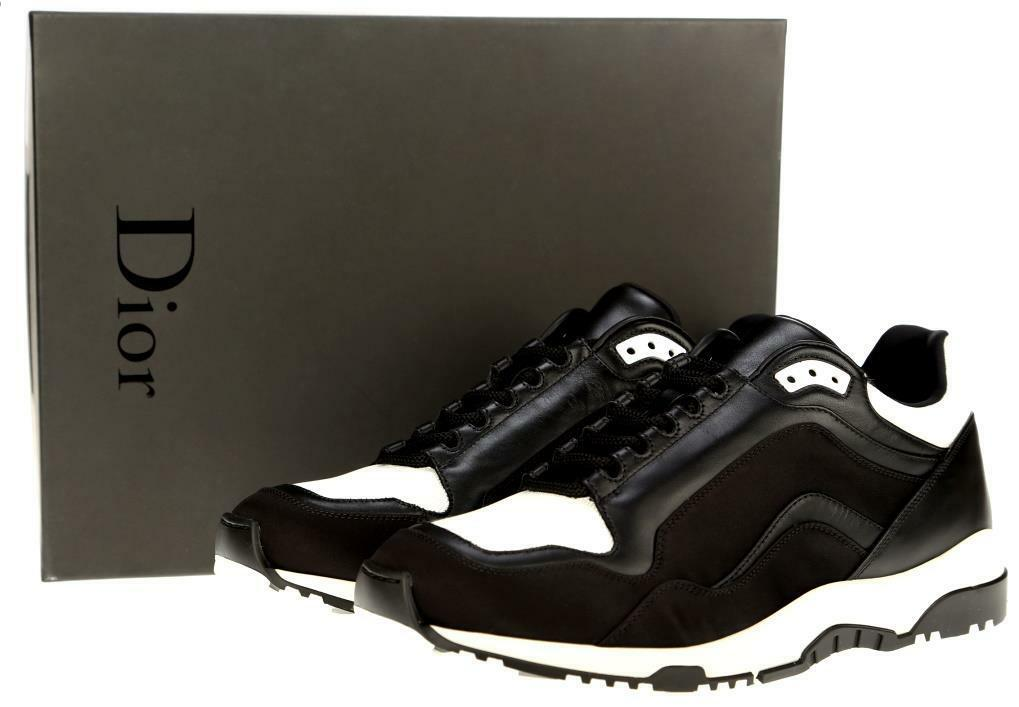 NEW DIOR HOMME CURRENT BLACK LEATHER WHITE INSERTS PLATFORM SNEAKERS SHOES 43