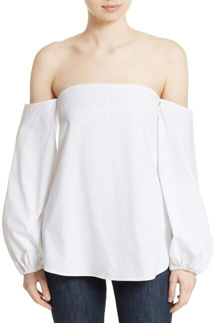 Theory Laureema Poplin Off the Shoulder White Top 10223 Size 12