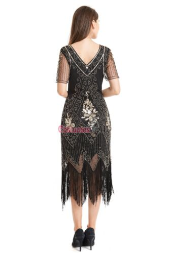 Deluxe Ladies Gatsby Fancy Dress 20s 1920s Roaring Flapper Black Costume Sequin