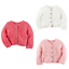 NWT-Carters-Infant-Girl-039-s-Chunky-Purl-Knit-Cardigan-Sweater-White-Pink-NB-12-Mo thumbnail 2