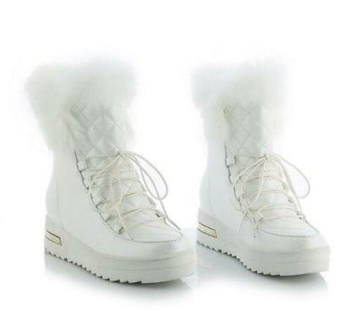 Womens Lace Up Platform Wedge Hidden Heel Warm Furry Snow Ankle Boots Shoes