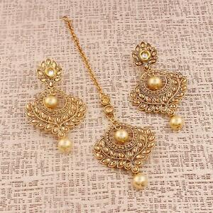 Balaji Collection Gold Traditional Necklace Set Jewellery Set with Earrings and Maang Tikka for Womens