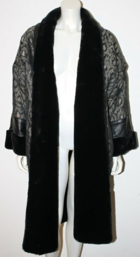 Jacket Black Tattarachi L Lined Leather M Champagne Faux Trim S Fur Print Animal waIra6q