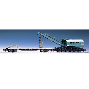 Tomix-2772-JNR-Railway-Crane-Type-S080-Green-with-Flat-Wagon-CHIKI-7000-N