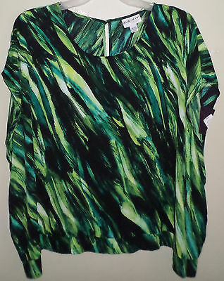 Plus Size Ava & Viv Green Multi-color Print Dolman Blouse Flowy NWT New