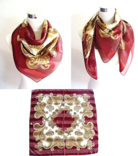 Halstuch Tuch elegant klassisch 100 x 100cm Viscose Paisley weinrot rot