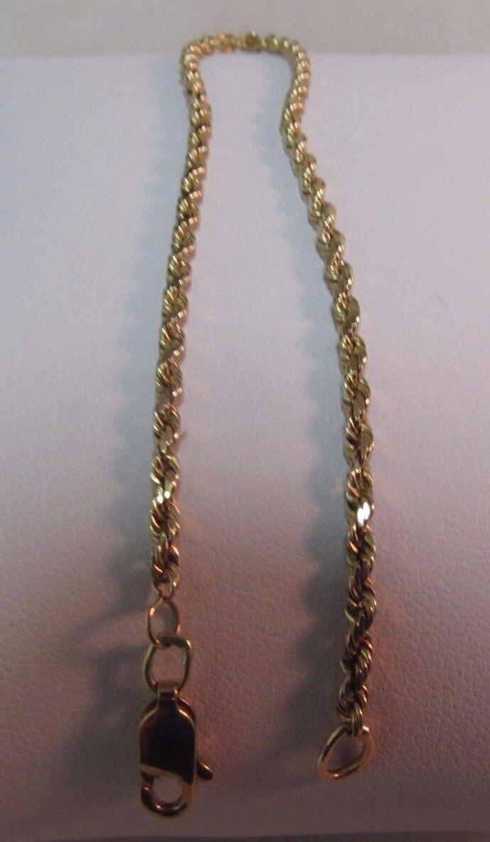 10K Petite gold Diamond Cut ROPE Bracelet-. 7.5 Lx 2mm. SALE