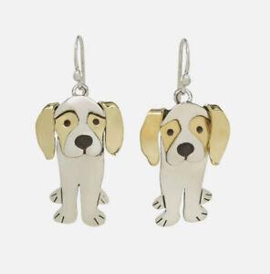 Far-Fetched-Regal-Beagle-Hund-Ohrringe-Sterling-Messing-Lang-Fair-Trade-Kiste