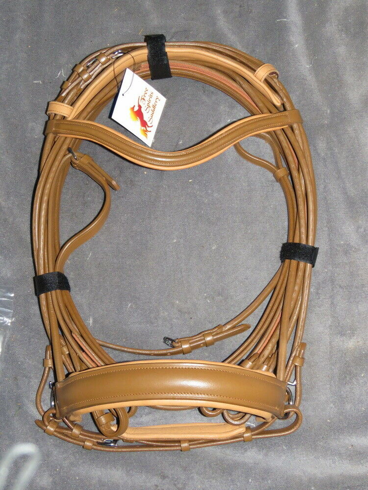 FSS ROLLED Curve Comfort Padded Cavesson Flash SNAFFLE DOUBLE Bridle TOBACCO TAN