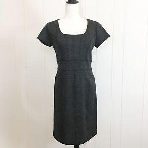 Pink-Tartan-Womens-Gray-Wool-Sheath-Career-Dress-Size-6