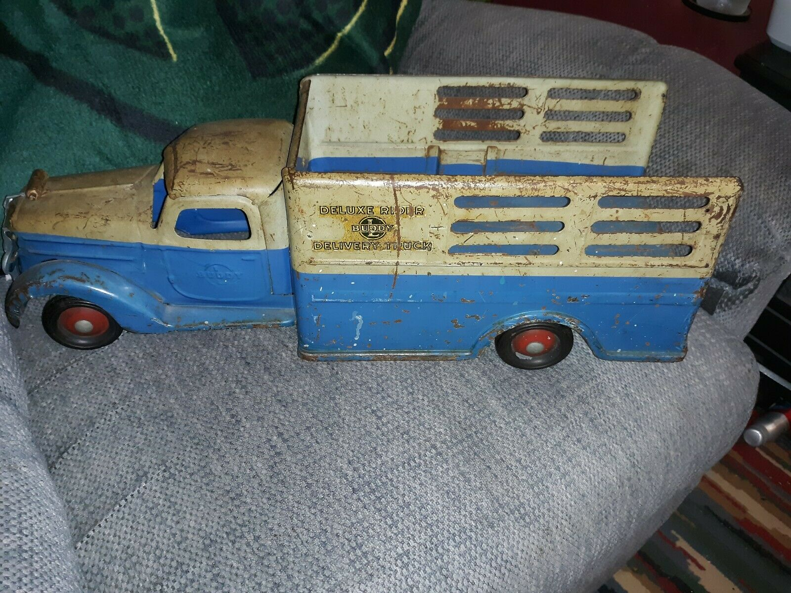 1930's Buddy L Pressed Steel Sit N Ride Deluxe Delivery Toy Truck Original